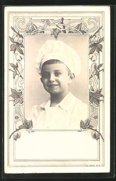 AK Knabe als Koch portraitiert in Ornamentrahmung