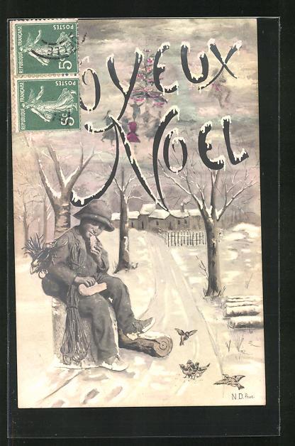 AK Joyeux Noel, kleiner Schornsteinfeger isst ein Brot im Winter 0