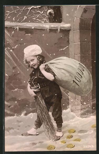 AK Kleiner Schornsteinfeger mit Geldsack im Schneegestöber 0