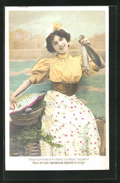 AK Nous sommes a fin mars..., Dienstmädchen hält Fische in der Hand 0