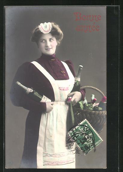AK Dienstmädchen mit einem Korb voller Sekt 0