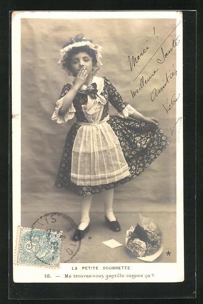 AK La Petite Soubrette..., kleines Dienstmädchen wirft einen Handkuss 0