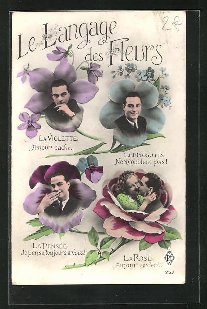 AK Blumensprache, Männer in Blumentrichtern 0
