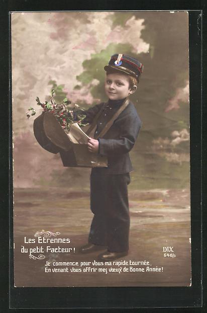 AK Briefträger, kleiner Junge in Briefträgeruniform