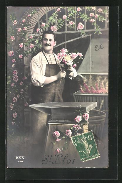 AK Schmied, hält Blumenstrauss in der Hand