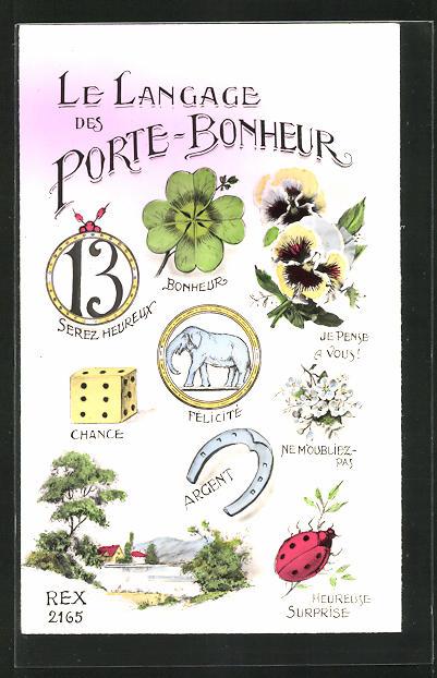 AK Bilderrätsel, La Langage des Porte-Bonheur, Hufeisen, Kleeblatt 0
