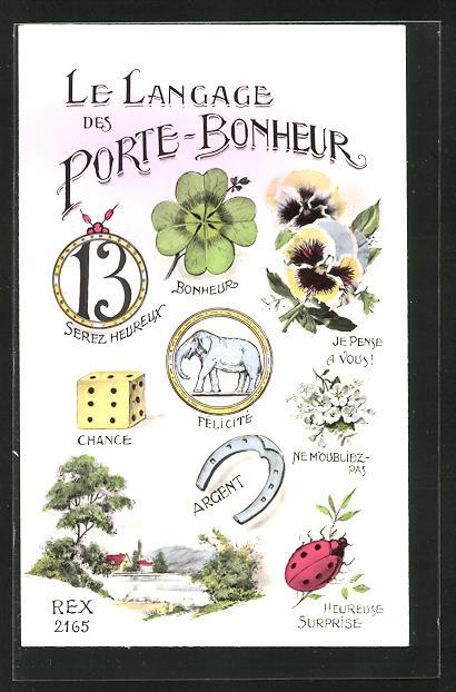 AK Bilderrätsel, La Langage des Porte-Bonheur, Kleeblatt, Elefant 0