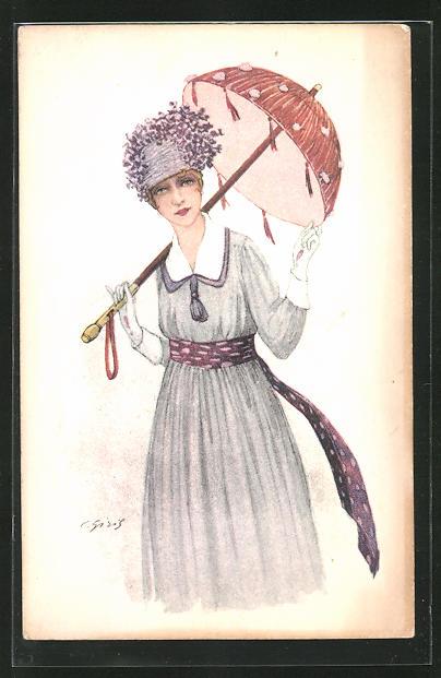 AK Frau mit Schirm, lila Kleid und Hut