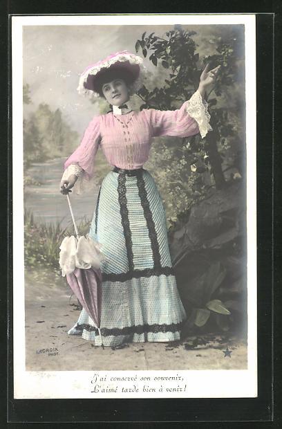 AK Frau in Kleid, mit Schirm, beim Tanz