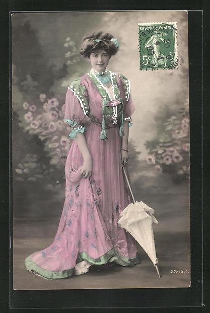AK Frau mit Schirm, rosa Kleid und weisser Schirm 0