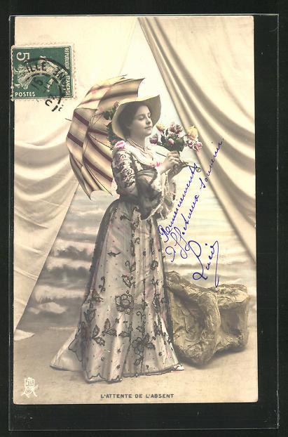 AK Frau mit Schirm, L`Attente de L`Absent, Blumenstrauss 0