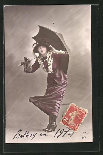 AK Frau mit Schirm, bei Sturm 0