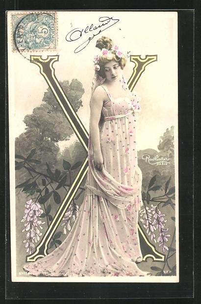 AK Atelier Reutlinger, Paris, Frau im Kleid mit Buchstabe X 0