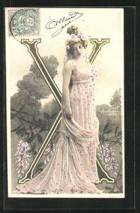 AK Atelier Reutlinger, Paris, Frau im Kleid mit Buchstabe X