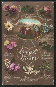 AK Langage des Fleurs: Marguerite M`aimez-vous?, Blumensprache