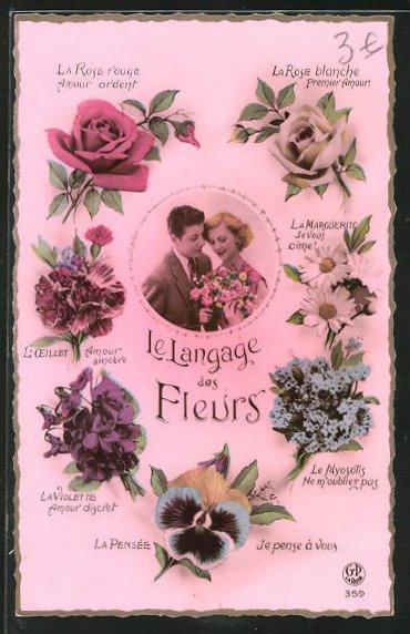 AK Le Langage des Fleurs: La Rose Amour ardent, Blumensprache 0