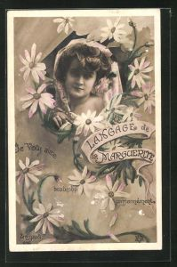 AK Langage de la Marguerite: Je vous aime, Blumensprache