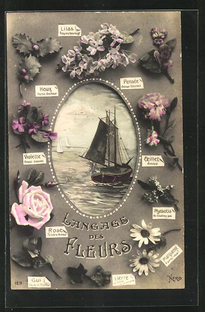 AK Langage des Fleurs: Pensee Amour Eternet, Blumensprache