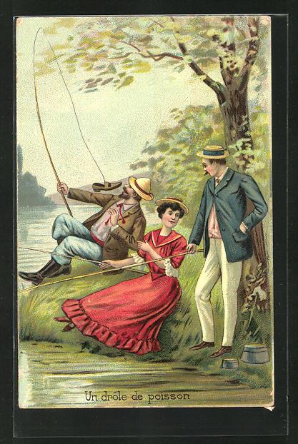Lithographie Un drole de poisson, Angler mit Dame 0
