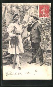 AK Jäger und Jägerin beim Flirt im Wald