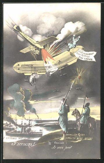 AK Zerstörung eines Zeppelins über dem Feindesland 0