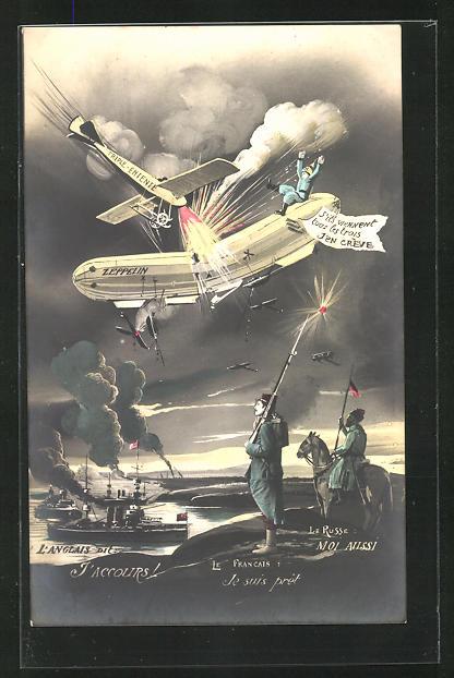 AK Zerstörung eines Zeppelins über dem Feindesland
