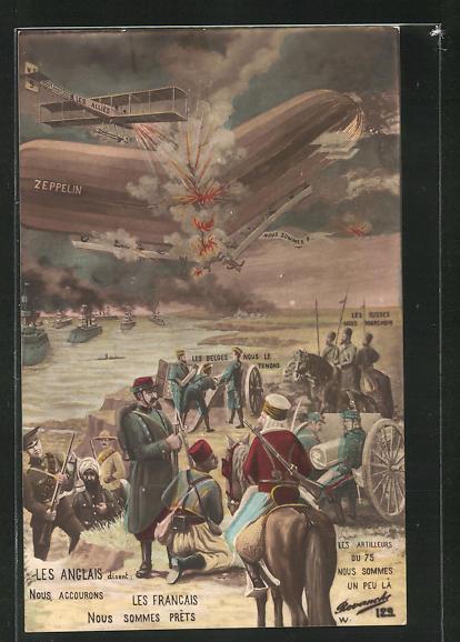 AK Zerstörung eines Zeppelins über dem Feindesland mit Russe, Franzose und Briten