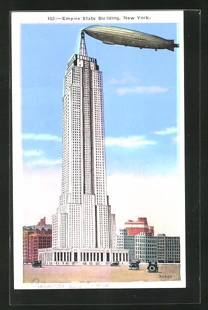 AK New York City, NY, The Empire State Building with Zeppelin 0