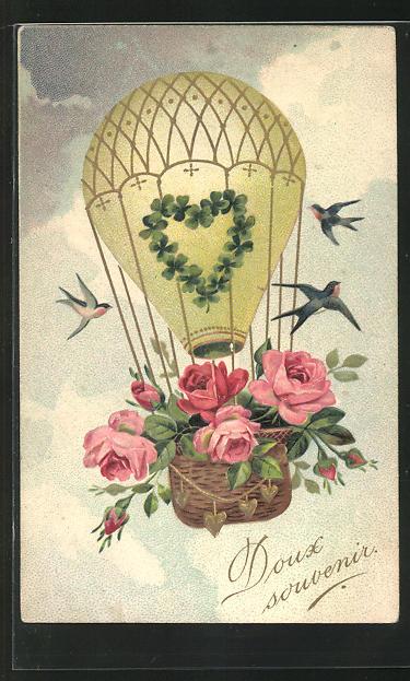 Lithographie Ballon mit Rosen und Kleeblatt wird von Schwalben umkreist 0