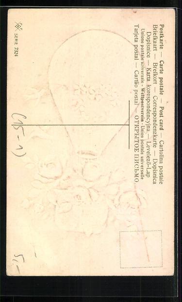 Lithographie Ballon mit Rosen und Kleeblatt wird von Schwalben umkreist 1