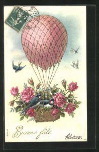 Präge-AK Bonne fete, Ballon mit Rosen und Schwalben im Korb