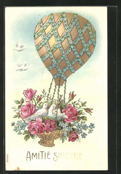 Lithographie Ballon im Blumenschmuck mit Tauben in der Gondel 0