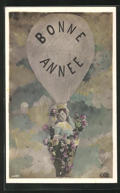 AK Bonne Annee, Mädchen mit Blumen in der Ballongondel
