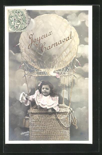 AK Joyeux Carnaval, Mädchen fliegt in der Ballongondel