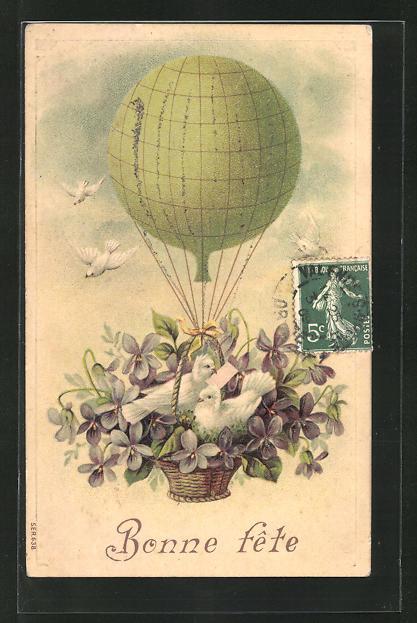 Lithographie Weisse Tauben und Veilchen in der Ballongondel 0