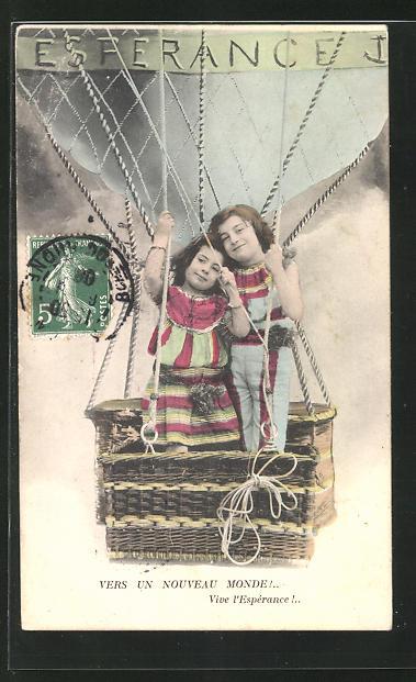 AK Esferance, Kinder fliegen in der Ballongondel 0