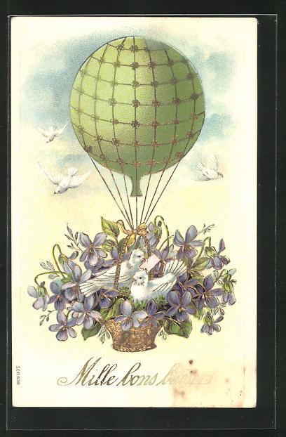 Lithographie Weisse Tauben mit Veilchen in der Ballongondel 0