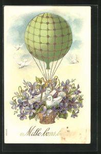 Lithographie Weisse Tauben mit Veilchen in der Ballongondel