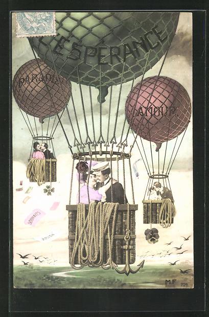 AK Paradis, L`Esperance & Amour, Liebespaare fliegen in Ballons 0
