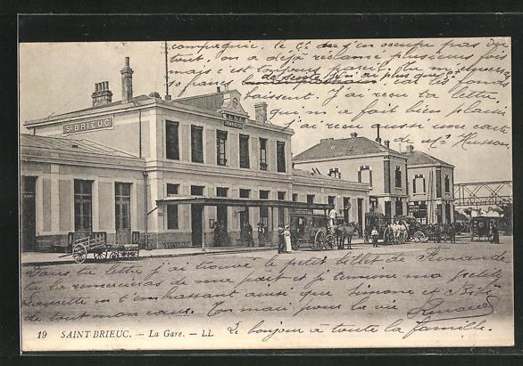 AK Saint Brieux, Vue sur la Gare 0