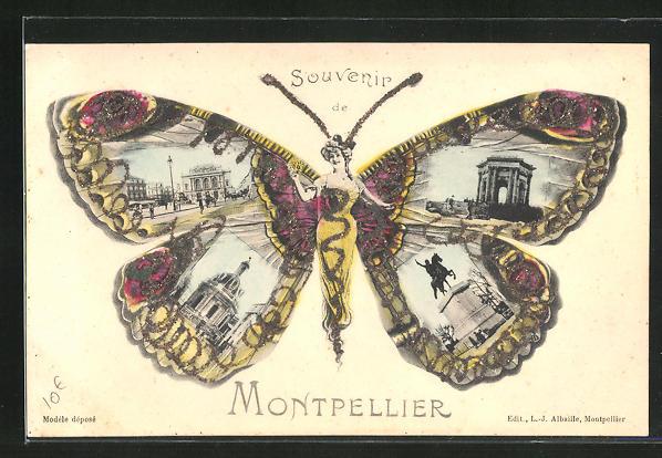 AK Montpellier, Frau mit Schmetterlingsflügeln, Denkmal, Ortspartie, Strassenpartie, Fliegende Menschen 0