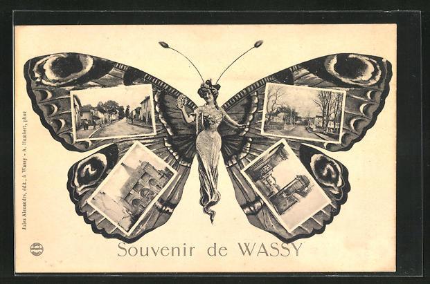 AK Wassy, Frau mit Schmetterlingsflügeln, Kirche, Ortspartie, Strassenpartie, Fliegende Menschen