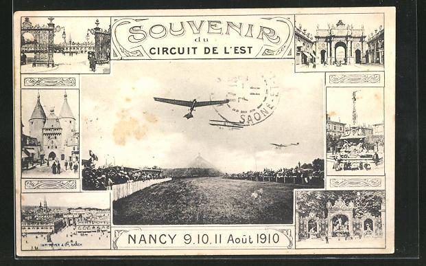 AK Nancy, Circuit de l`Est, 1910, Eindecker & Doppeldecker bei einer Flugshow 0