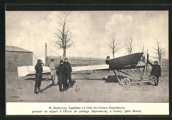 AK Courcy, M. Bechereau, Ingenieur en Chef des Usines Deperdussin prenant un depart a l`Ecole de pilotage 0