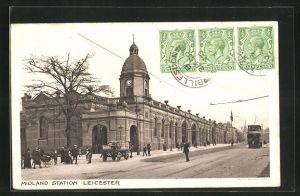 AK Leicester, Midland Station, Strassenpartie am Bahnhof