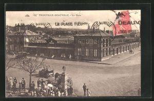AK Trouville, La Gare, Blick zum Bahnhof