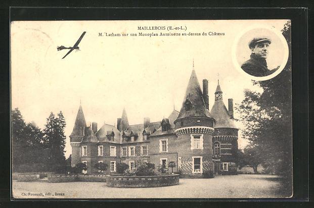 AK Maillebois, M. Latham sur son Monoplan Antoinette au-dessus du Chateau, Flugzeug über dem Schloss