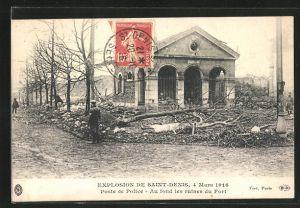 AK Saint Denis, Poste de Police -Au fond les ruines du Fort, Explosion 1916