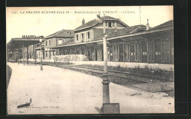 AK Verdun, La Gare, Bombardement Verdun