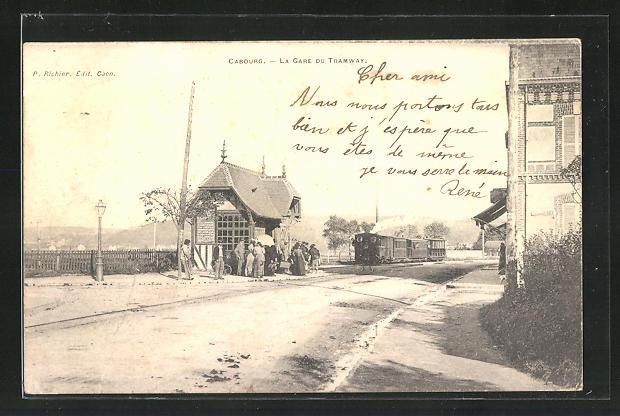 AK Cabourg, La Gare du Tramway, Kleinbahn